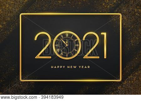 Happy New 2021 Year. Golden Metallic Luxury Numbers 2021 And Watch With Roman Numeral And Countdown