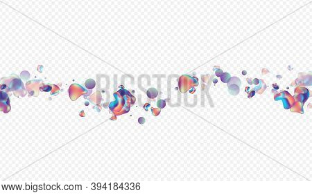 Neon Holography Plastic Vector Transparent Background. Futuristic Bubble Banner. Hologram Gradient B