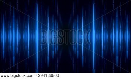 Abstract Blue Futuristic Background. Space From Glowing Neon Light Tubes Of Astera On A Black Backgr