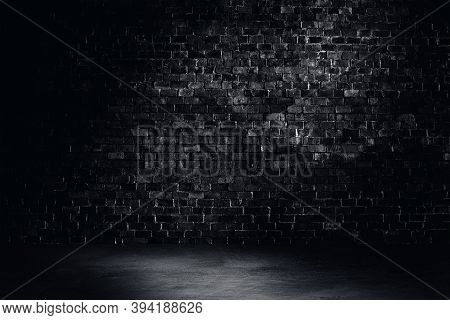Empty Space Of Studio Dark Room Black Brick Wall Grunge Texture Background With Light Shading.