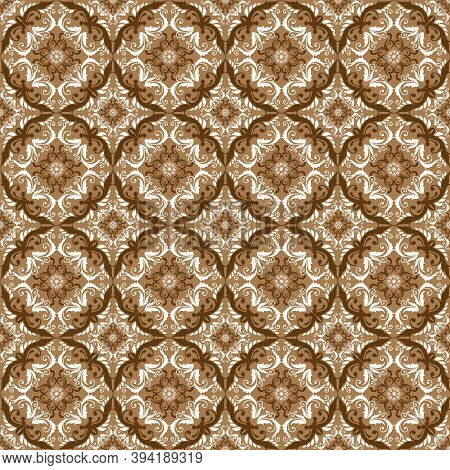 Elegant Circle Patterns On Fabric Parang Batik With Smooth Mocca Color Design.