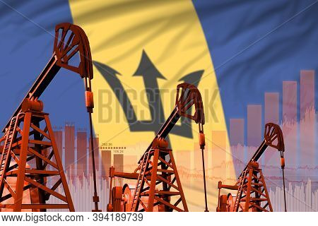 Barbados Oil And Petrol Industry Concept, Industrial Illustration On Barbados Flag Background. 3d Il