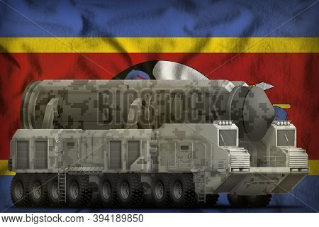 Intercontinental Ballistic Missile With City Camouflage On The Swaziland Flag Background. 3d Illustr