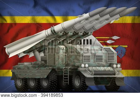 Tactical Short Range Ballistic Missile With Arctic Camouflage On The Swaziland Flag Background. 3d I