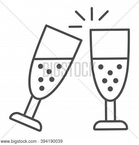Clinking Of Champagne Glasses Thin Line Icon, New Year Concept, Sparkling Champagne Glasses Sign On