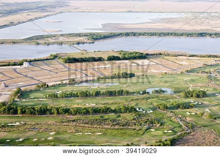 aerial view of new development and golf course