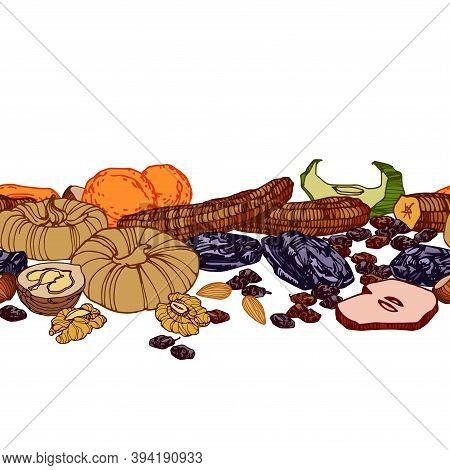 Horizontal Seamless Pattern Of Dried Fruits & Nuts, Bananas, Figs, Prunes, Raisins, For Menu & Culin