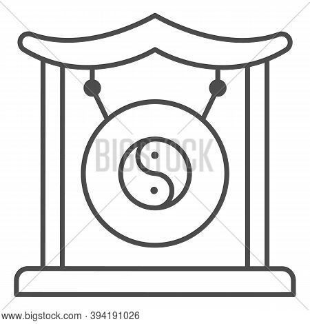 Chinese Gong Thin Line Icon, Chinese Mid Autumn Festival Concept, Asian Musical Instrument Sign On W
