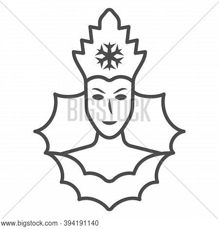 Snow Queen Thin Line Icon, World Snow Day Concept, Ice Queen Sign On White Background, Winter Prince