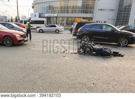 Russia, Moscow, 01.10.2020 Road Accident Involving A Motorcycle. The Motorcycle Crashed After A Road