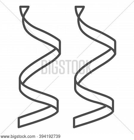 Serpentine Thin Line Icon, New Year Concept, Ribbons For Decoration Sign On White Background, Party