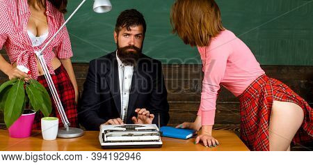 Erotic Education And Sex. Symbols On Chalkboard. Lets Talk About Sex. Handsome Young Bearded Coach W
