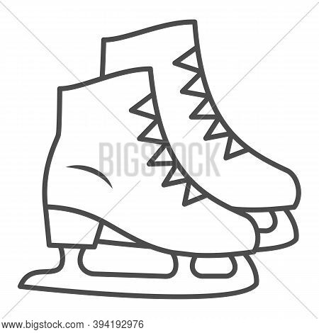 Skates Thin Line Icon, New Year Concept, Skating Sign On White Background, Ice Skate Icon In Outline
