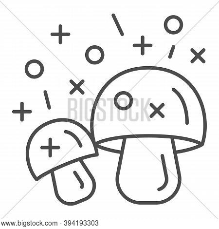 Hallucinogenic Mushroom Thin Line Icon, Narcotic Substances Concept, Psychedelic Shrooms Sign On Whi