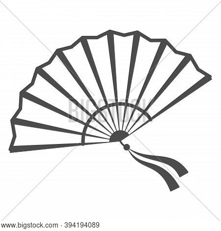 Chinese Fan Thin Line Icon, Chinese Mid Autumn Festival Concept, Traditional Fan With Ribbons Sign O