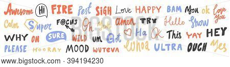 Vector Hand Drawn Sticker Logo Words Set Collection.
