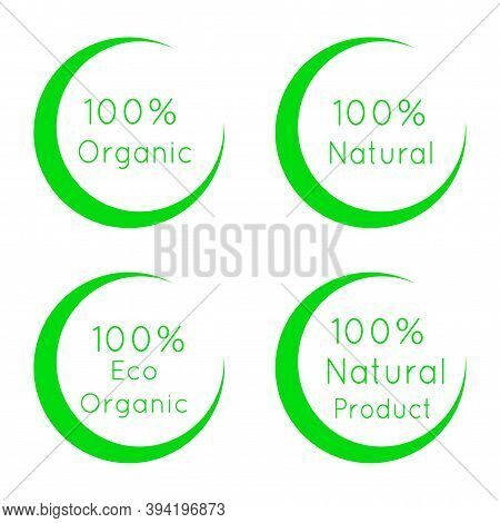 100 Percent Organic Labels Set. Natural, Eco Organic Symbols Collection Isolated On White