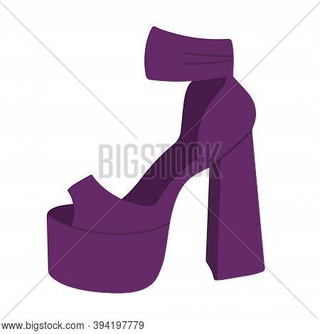 .fashionable Womens Purple High-heeled Sandals. Sexy Shoes. Vector Illustratio