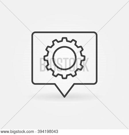 Speech Bubble With Cog Wheel Linear Vector Concept Icon Or Logo Element