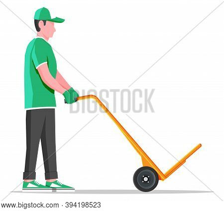 Courier With Empty Barrow Isolated On White. Metallic Two Wheeled Trolley And Delivery Man. Hand Tru