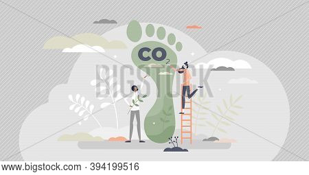 Carbon Footprint As Co2 Emission Pollution Amount In Air Tiny Person Concept. Dioxide Greenhouse Gas