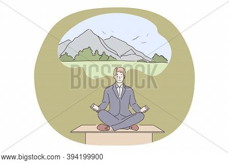 Yoga, Relax, Business Concept. Businessman Manager Leader Sitting Dreaming On Work Table Does Yoga I