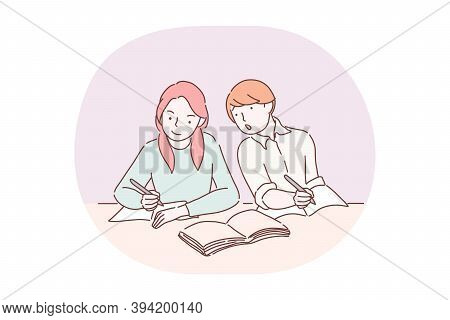Exam, School, Learning, Education, Curiosity Concept. Boy Pupil Cartoon Character Sitting And Trying
