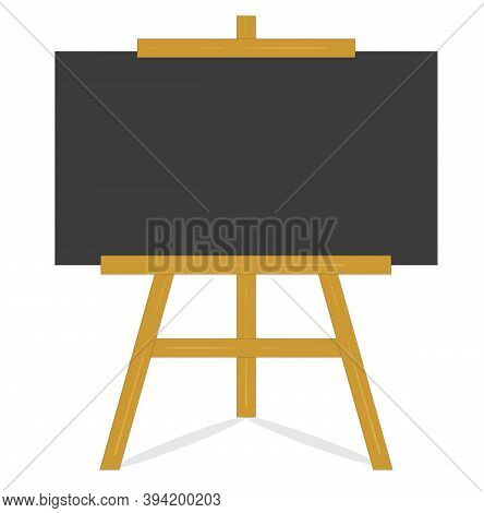Blackboard On Wooden Frame, Empty Clean Black Chalkboard On An Old Style Wooden Easel Isolated On Wh