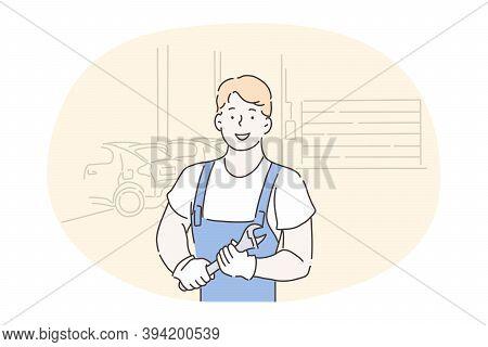 Mechanic, Auto Repairing Salon, Auto-fitter, Repairman, Technician Concept. Young Smiling Repairman