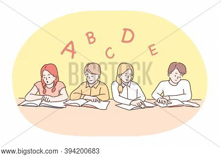 School, Lesson, Learning Letters And Alphabet, Education Concept. Group Of Positive Concentrated Chi