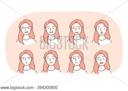 Different Emotions And Variety Of Facial Expressions Concept. Set Of Female Faces Expressing Various