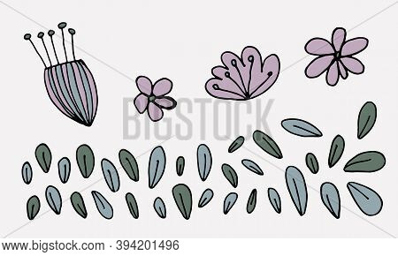 Hand Drawn Doodle Flower Head Illustration. Simple Floral Element Isolated On White Background