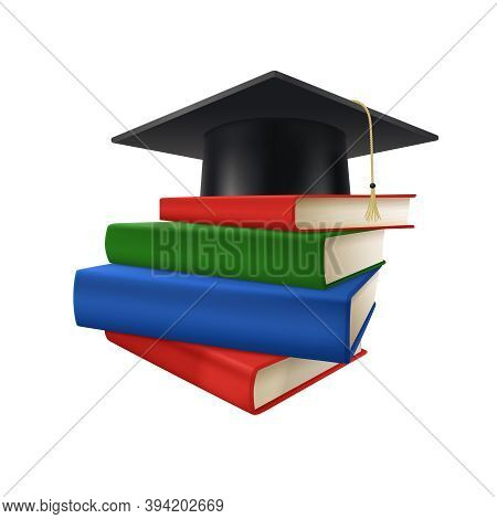 Realistic Graduate Academic Composition With Stack Of Colorful Books And Square Academic Cap On Top