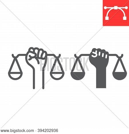 Civil Rights Line And Glyph Icon, Scale And Balance, Lawyer Sign Vector Graphics, Editable Stroke Li