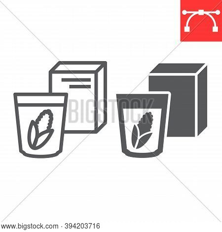 Breakfast Cereal Line And Glyph Icon, Corn And Cereals, Cereal Box Sign Vector Graphics, Editable St
