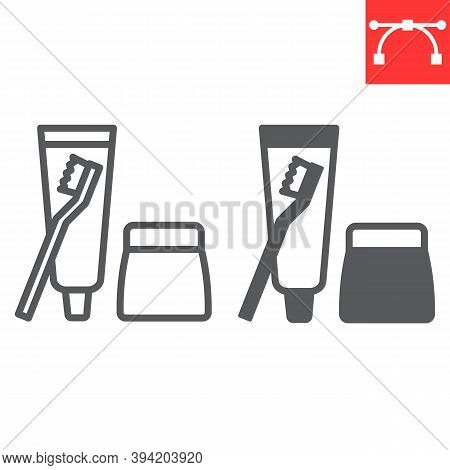 Toiletries Line And Glyph Icon, Toothbrush And Toothpaste, Toiletries Sign Vector Graphics, Editable
