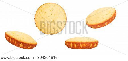 Culinary Baking Concept. Isolated Sponge Cakes. Close-up.