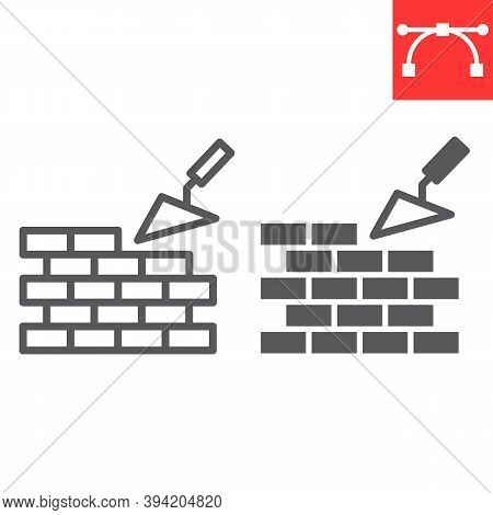 Brickwork Line And Glyph Icon, Construction And Trowel, Build Brick Wall Sign Vector Graphics, Edita