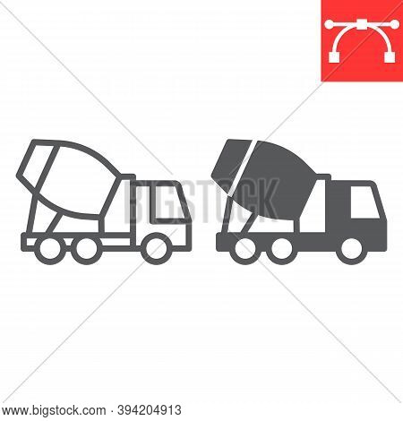Concrete Mixer Line And Glyph Icon, Construction And Vehicle, Cement Mixer Truck Sign Vector Graphic