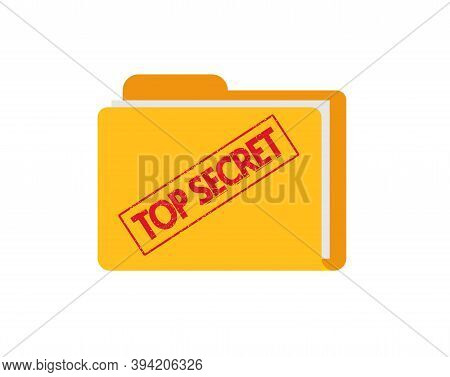 Top Secret Document Files Folder With Confidential Information Flat Icon, Concept Of Spy Classified