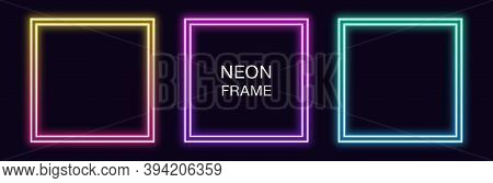 Gradient Neon Square Frame. Vector Set Of Quadrate Neon Border With Double Outline. Geometric Shape