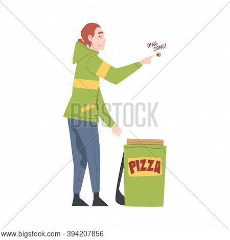 Food Delivery Girl Ringing At Apartment Doorbell, Online Food Order And Delivery Service Cartoon Sty