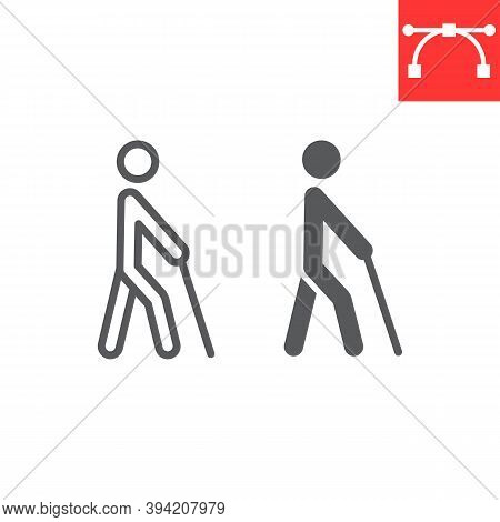 Blind Man With Walking Stick Line And Glyph Icon, Disability And Blindness, Blind Person Sign Vector