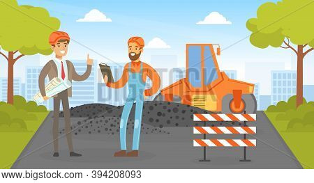 Road Construction And Repair, Road Worker In Overalls And Safety Helmet Repairing Road Vector Illust