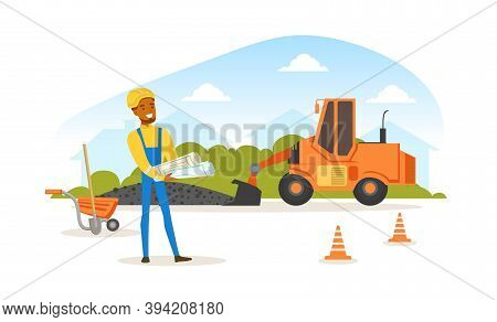 Asphalt Road Construction And Repair, Heavy Construction Machine And Engineer In Hard Hat Standing W
