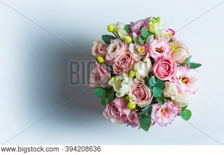 Colorful Flower Bouquet From Roses Isolated On White Background. Fresh, Lush Bouquet Of Colorful Flo