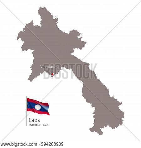 Silhouette Of Laos Country Map. Highly Detailed Gray Map And National Flag And Vientiane Capital, So
