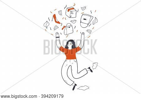 Fashionable Shopping, Sale, Consumerism Concept. Young Happy Woman Consumer Customer Cartoon Charact