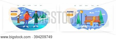 Romantic Cople Ice Skating On A Lake. Winter Holiday Sport Activity Vector Concept Illustration. Out