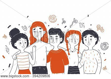 Childhood, Friendship, Portrait Concept. Collection Group Of Children Friends Toddlers Pupils Boy Gi